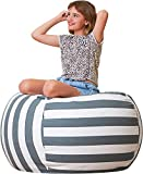 Aubliss Stuffed Animal Bean Bag Storage Chair, Beanbag Covers Only for Organizing Plush Toys, Turns into Bean Bag Seat for Kids When Filled, Medium 32'-Canvas Stripes Grey/White