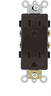 Leviton 16242 15 Amp, 125 Volt, Decora Plus Duplex Receptacle, Straight Blade, Commercial Grade, Self Grounding, Brown