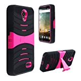 Phone Case for ZTE Sonata-3 (Cricket Wireless) / Avid-828 (Consumer Cellular) / Avid-Plus 4g LTE ( MetroPCS ) / ZTE-Prestige N9132 / ZTE Maven-2 Gophone Heavy Duty Armo Cover Pink Stand
