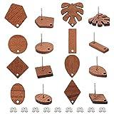 OLYCRAFT 16 pares de pendientes de tuerca de madera de nogal con 32 piezas de tuercas de hierro vintage de madera de nogal, accesorios para pendientes, decoración de joyas, formas mixtas