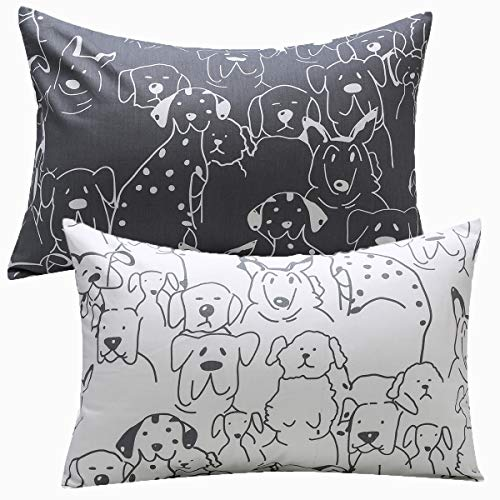 Kids Toddler Pillowcases UOMNY 2 Pack 100% Cotton Pillow Cover Pillowslip Case Fits Pillows sizesd 13 x 18 or 12x 16 for Kids Bedding Pillow Cover Baby Pillow Cases Dog Kids' Pillowcases Grey