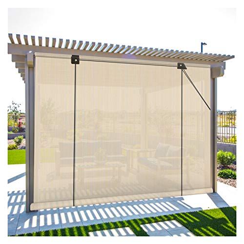 XJJUN Cortina Enrollable Exterior, Tela Transpirable, 90% De Resistencia A Los Rayos UV, Luz De Filtro, Pantalla De Privacidad, para Mirador, Pérgola, Jardín, Terraza