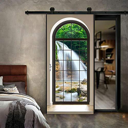 XXCCTT Türtapete Selbstklebend Türposter Tür Aufkleber Für Innentüren 3D Stereoanlage Fenster Wasserfall Felsen (90*210Cm) Bewegliche Tür Wasserdicht Wohnzimmer Schlafzimmer Tür Dekoration Aufkleber