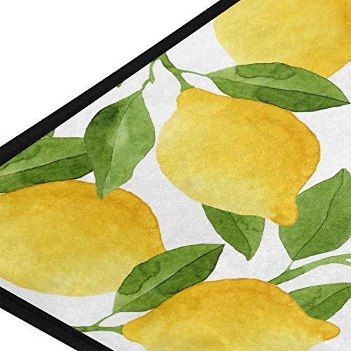 ZOEO Lemon Bath Runner Rug Yellow Lime Tree Non Slip Area Mat Rugs for Bathroom Kitchen Indoor Carpet Doormat Floor Dirt Trapper Mats Shoes Scraper 39'x 20'