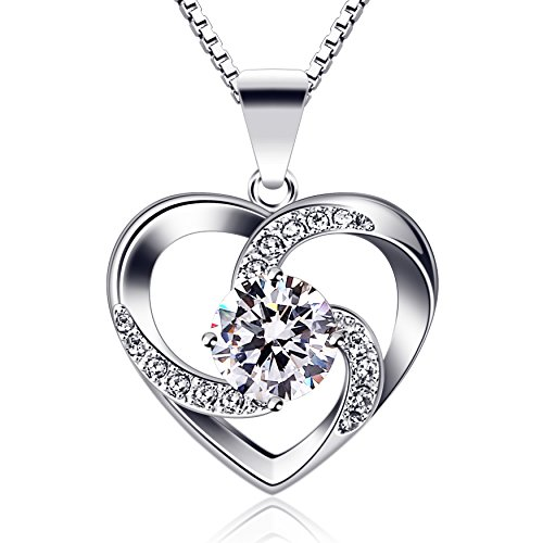 B.Catcher regalo di San Valentino per collana da donna, in argento Sterling 925 con ciondolo Crazy Love con lunga 45,7 cm inclusa