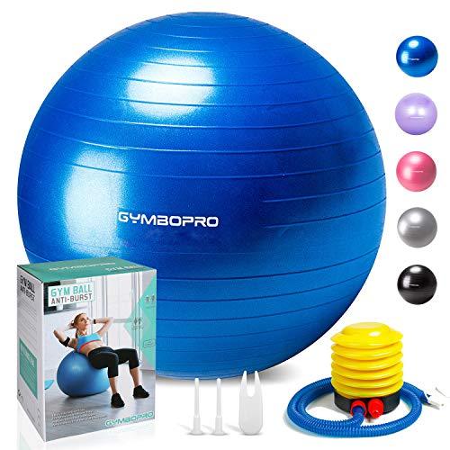 GYMBOPRO Fitness Pelota de Ejercicio - Bola Suiza con Bomba de Inflado ,Bola de yoga antirrebote y antideslizante Bola de equilibrio para gimnasio Pilates Gimnasio de yoga (75 cm, Azul)