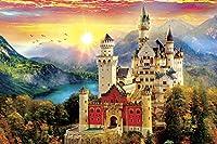 1000ピースのパズル、大人のパズル、挑戦的なおもちゃ、城と夕日、木製のパズルpuzzle (50×75 CM)