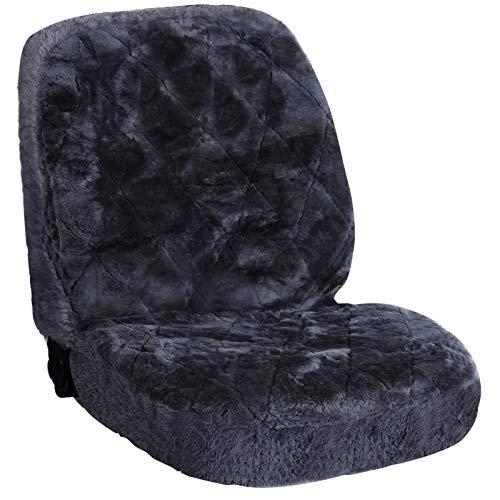 eSituro SCSC0143 universal ökologisch Lammfellbezug Sitzbezug Sitzbezüge für Auto aus echtem Lammfell grau