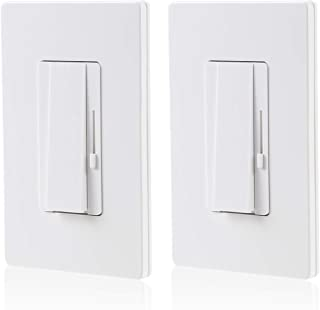TORCHSTAR 2 PACK 3-Way/Single Pole Dimmer Switch, Suit for 150W LED/CFL 600W Incandescent/Halogen, Both Single Pole/3-Way Applications Available, Wall Plate Included, UL Listed