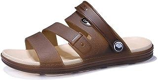 Fashion Sandals for Men Slipper Shoes Slip On Plastic Leather Dual Purpose Shoes Men's Boots (Color : Brown, Size : 7.5 UK)