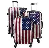 TOP Trolley-Koffer-Sets - Diverse Motive - 3-teilig - 74 + 64 + 54 cm - 4 Rollen - Hartschale (USA)