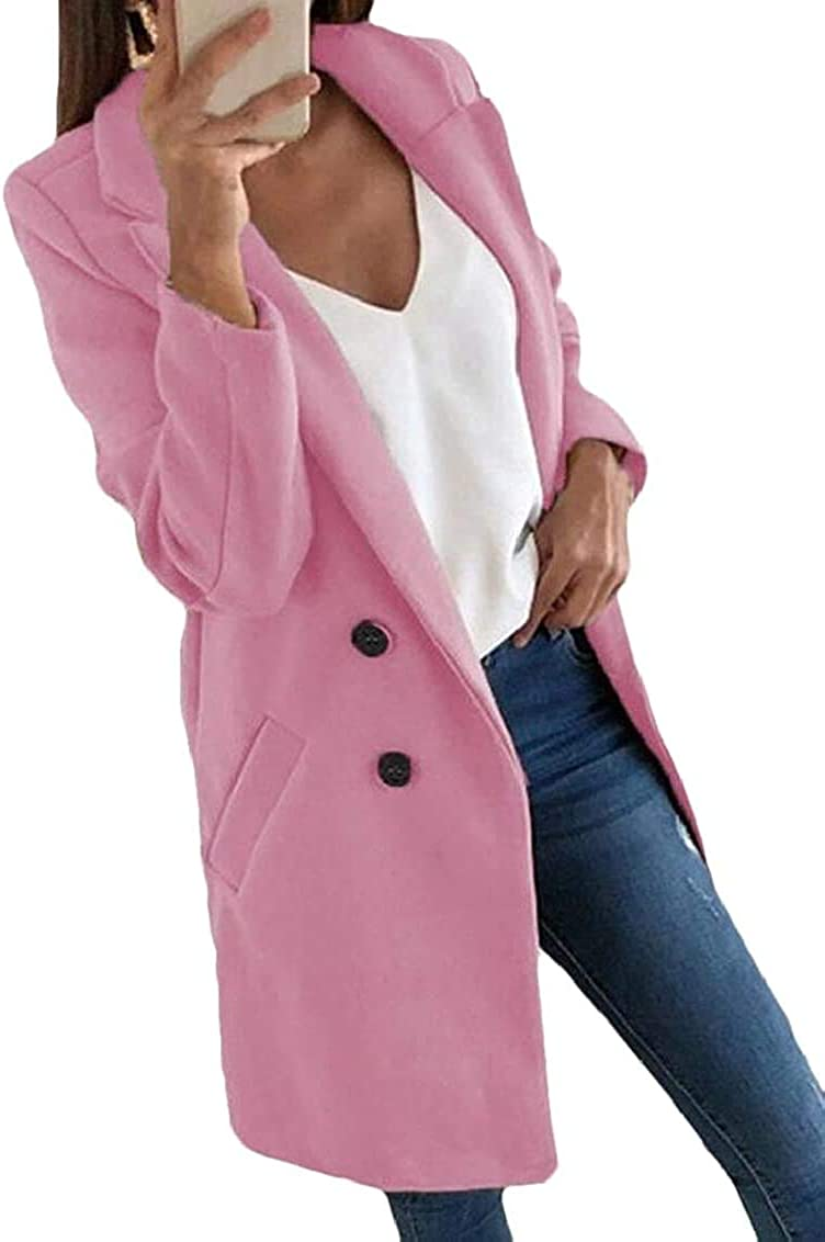 Yhsuk Women Long Sleeve Casual Pea-Coat Pockets Solid Two Button Pea Coat