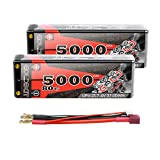 GOLDBAT 5000mAh 7.4V 80C 2S Estuche rígido de batería Lipo con Conector D Style T para RC Buggy Truck (2 Paquetes)