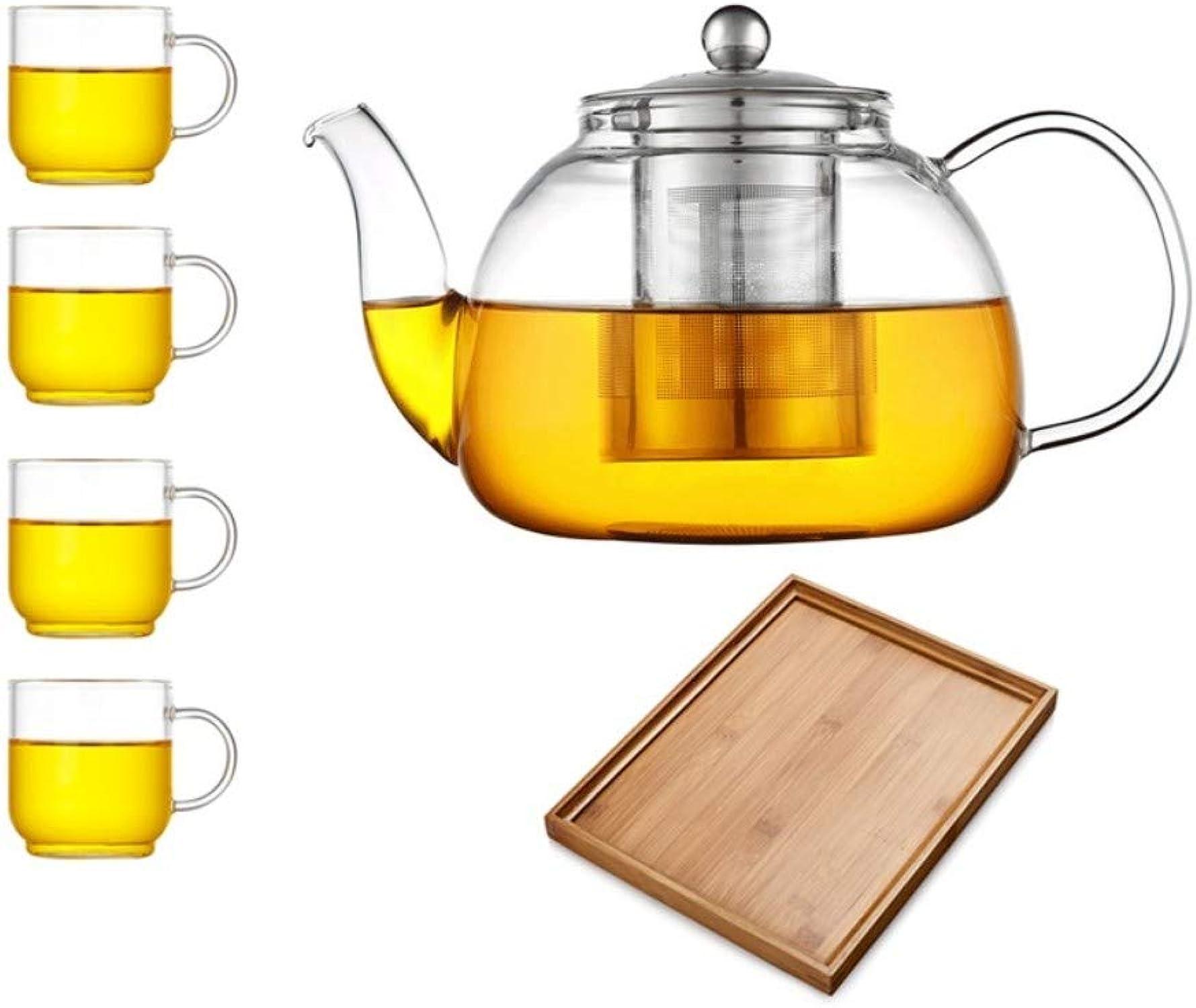 SGXDM Théière en Verre Unique Pot Maison résistant à la Chaleur Grande capacité Filtre Kung fu thé Ensemble Bouilli thé Fleur Ensemble de thé, e