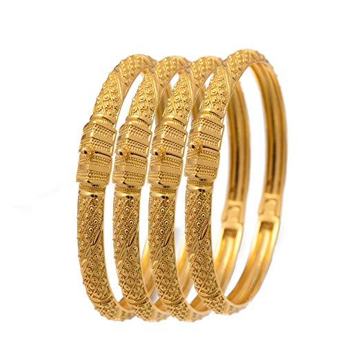 AMTBBK 4Pcs/Set 24K Plated Bangle Hand-Carved Bracelet Women Bracelet Bridal Bracelet