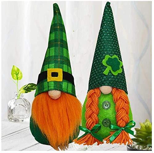 Fenbo St. Patrick's Day Gnome Irish Leprechaun Swedish Gnome Ornaments Set Green Irish Leprechaun Tomte Gnomes Doll Nordic Elf Figurine Home Decoration Ornaments