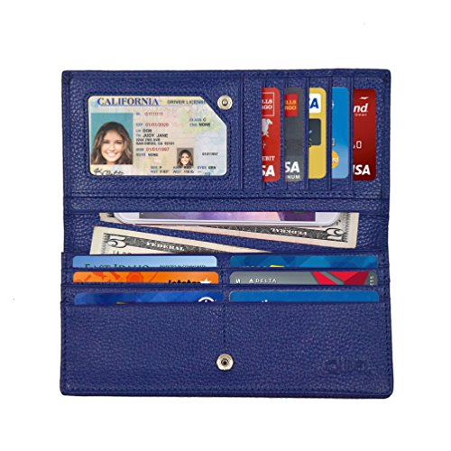 Women's RFID Blocking Ultra Slim Genuine Leather Clutch Wallet-Shield Against Identity Theft-Excellent Credit Card Protector for Women by Qubel (Blue)