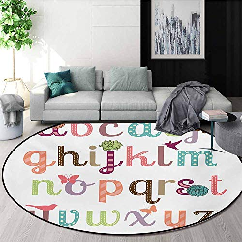 Amazing Deal Letters Carpet Gray Round Area Rug,Girly Feminine Typography Set Colorful Letters with ...