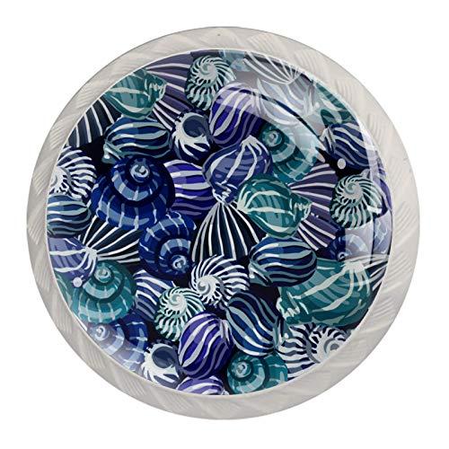 4 pomos de cajón de cristal con tornillos para el hogar, la oficina, el armario, el armario, el patrón colorido de caracola.