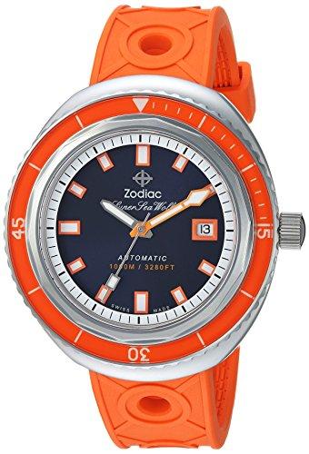 Sternzeichen Männern Super Sea Wolf 68'Swiss Automatik Edelstahl und Gummi Casual Uhr, Farbe: orange (Modell: zo9503)
