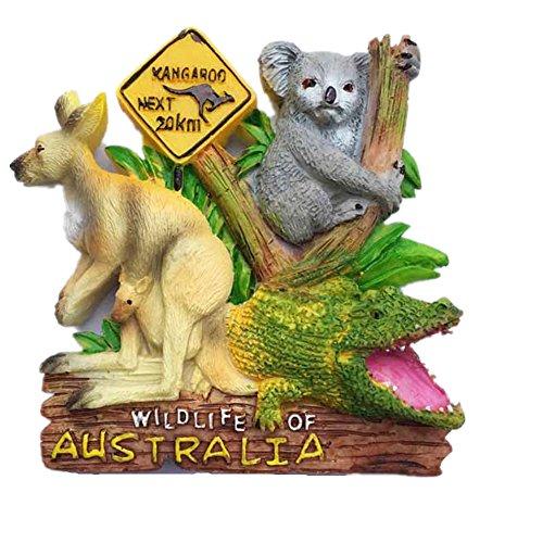 Imán para nevera con diseño de canguro de Australia con diseño de koala y cocodrilo, recuerdo de viaje, decoración del hogar y la cocina. Imán para nevera de Australia
