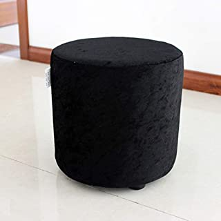 WEWE Ottoman Pouf Foot Rest,Crushed Velvet Dressing Stool Sofa Bench Footrest Stool Rest Extra Seat Single Seat Stool-Black 30x30x30cm(12x12x12)