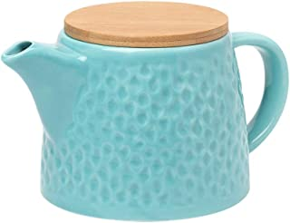 BRT Ceramic Porcelain Teapot With Stainless Steel Infuser, Bamboo lid (Teal)