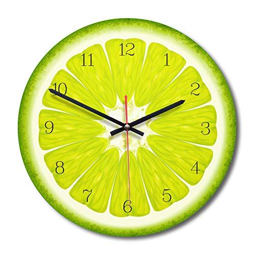 WADCRmgyx Reloj de Pared de Vidrio de Pomelo de Fruta Creativa Reloj de Cocina Moderno Reloj Decoración para el hogar Reloj de Sala Fruta Tropical Arte de Pared Relojes