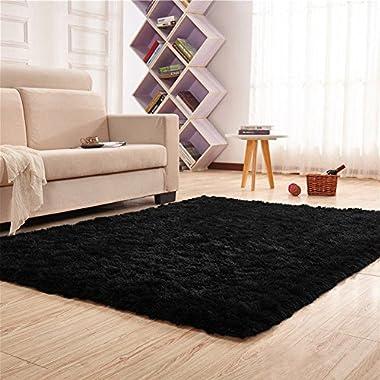 Junovo Area Rugs for Living Room, Sound-insulating Home Decor Mats 4' x 5.3',Black