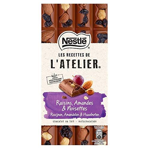 Nestlé L'Atelier Melk Rozijn Hazelnoot Amandel chocoladereep - doos met 10 stuks (10 x 170 gram)