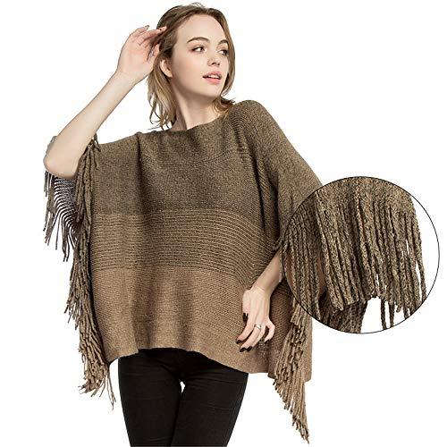 Qiminclo Damenschal Tücher und Wickel Damen/Damen Batwing Quaste Strick Poncho Schal Pullover Outwear Tops (Farbe : Khaki)