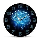 Reloj de pared Código binario Inteligencia artística Reloj de pared del cerebro Movimiento silencioso Reloj de pared Empresa Decoración de oficina Tablero de circuitos del cerebro Arte para geeks