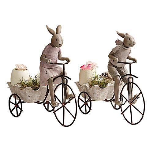 Loberon Hase 2er Set Racing Rabbits, Osterdeko, Polyresin/Eisen, H/B/T ca. 24/24 / 11 cm, braun
