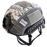 SHENKEL FAST HELMET ファストヘルメット PJタイプ(BK) & ヘルメットカバー メッシュ仕様(ACU) サバゲー 装備 4点式あご紐ヘルメット