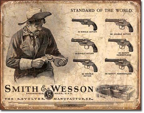 DE Sign Vintage Metal Signs Gun Bundle - Winchester Rifles & Ammo, Remington Bullet Board, Colt Round Logo, Smith and Wesson Revolver Manufacturer. Plus Winchester Logo Magnet.