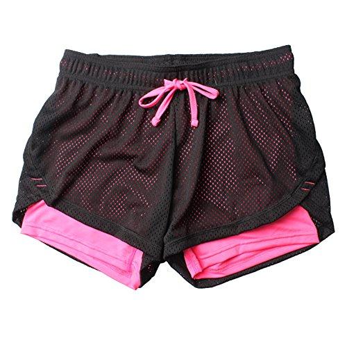 Homieco Donne 2 in 1 Sport Ginnastica Shorts Pantaloni di Yoga Corsa Palestra Alpinista Palestra Pantaloni Corta