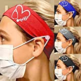 Boaccy Boho Button Headbands for Nurse Ear Protection Headwraps Elastic Breathable Head Band Face Mask Holder Head Wrap Sport Workout Hair Bands Buttons Headband Hair Accessories for Women and Girls 4 Pcs (A)