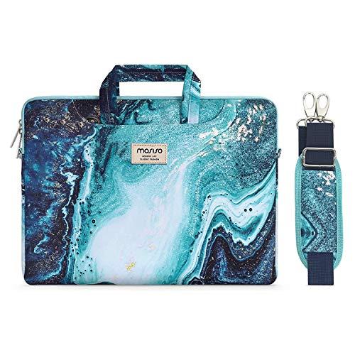 MOSISO Laptop Schultertasche Kompatibel mit 2019 MacBook Pro 16 Zoll A2141, 15 15,4 15,6 Zoll Dell Lenovo HP Asus Acer Samsung Chromebook, Kreative Welle Marmor Aktentasche Sleeve mit Trolley Gürtel