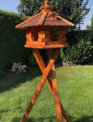 DARLUX Vogel Futter Haus L Futterstelle Sechseck aus Holz mit Ständer Braun/Rot