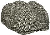 Brixton Men's Brood Newsboy Snap Hat, Grey/black herringbone, X-Large