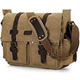 S-ZONE Vintage Canvas Leather Trim DSLR SLR Digital Camera Exchangeable Shoulder Large Messenger