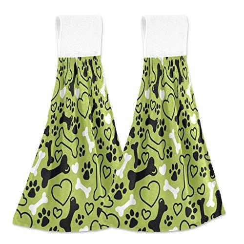 SunsetTrip - Toalla de mano con diseño de hueso de perro con lazo para colgar, 2 piezas para cocina, baño, toallas de corbata suaves absorbentes para niños