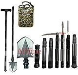 Allfine Camping-Schaufel Militär, robust, zusammenklappbar, kompaktes Werkzeug mit 7-in-1-Multifunktionsfunktion für Off-Roading, Camping, Outdoor, Survivalist und Notfall, 142,2 cm