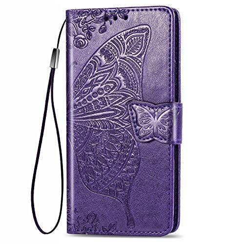 Dedux Brieftasche Hülle für Samsung Galaxy S10 Lite, Geprägt Schöne Schmetterlinge & Rose Blume Lederbezug, Premium Leder Flip Schutzhülle mit Standfunktion & Kartenfächer, Dunkelviolett