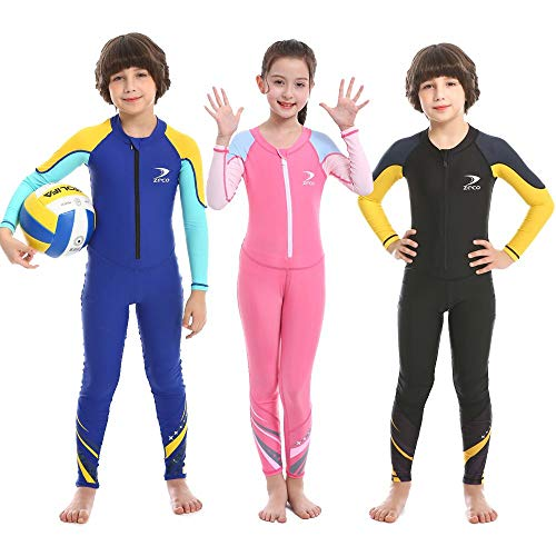 Kids Swimsuit, Boys and Girls Full Body Sunsuit, UPF50+ Rash Guard Wetsuit, One Piece Full Cover Swimwear with Front Zip for Swimming, Snorkeling, Diving