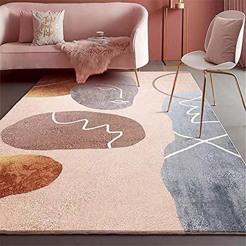 Alfombras Para Salon Marrón Alfombra sala de estar marrón abstracto patrón geométrico suave alfombra anti-mitón Alfombra De Dormitorio 140x200cm Alfombras Juveniles De Habitacion 4ft 7.1''X6ft 6.7''