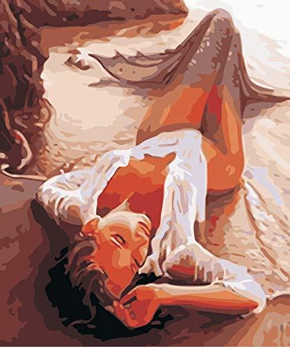 DIY pintura por nmeros adultos retrato kits completos pintura al leo por nmeros arte figura dibujo decoracin del hogar A5 60x80cm