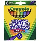 Crayola Washable Crayons, Large, 8 Colors - 2 Packs