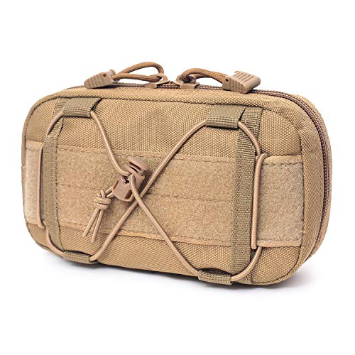 Tactical Molle Horizontal Admin Pouch Compact 1000D Utility EDC Tool Bag with Shoulder Strap (Tan)
