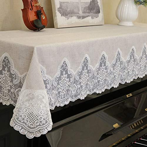 Garden hall Cubierta de Piano de Lino Europea y Americana Cubierta de Piano a Prueba de Polvo de Encaje Toalla 90x180cm